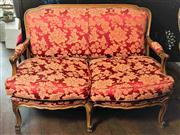 Sale 8577 - Lot 37 - A walnut timber Louis XV style red Damask upholstered two seater lounge featuring cabriole legs and feather mix seat, W 132 x H 90 x...