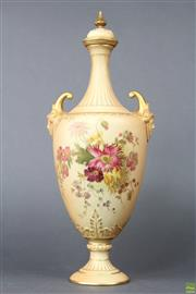 Sale 8594 - Lot 29 - A Royal Worcester Floral Twin Face Handle lidded Vase ( H 34cm)
