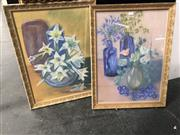 Sale 8816 - Lot 2058 - 2 Works by Elisabeth Daniels - Still Life with Agapanthus & Still Life with Lilies, pastel, SLL