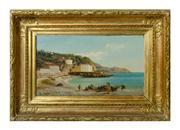 Sale 8828A - Lot 12 - Italian 19th Century Fishermen signed lower left oil on panel 23 x 35 cm in fine gilt frame.
