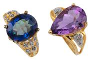 Sale 8954 - Lot 303 - TWO SILVER GILT QUARTZ AND DIAMOND RINGS; one with a pear cut amethyst of approx. 5.32ct, the other with an oval cut blue mystic qua...