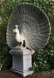 Sale 9015G - Lot 47 - Large Carved Genuine Stone  Peacock Statue On Stand. Consists of 2 Parts Sculpture and base. General Wear, Has Natural stone Crack L...