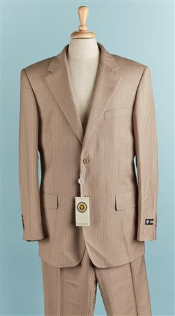 Sale 9080F - Lot 73 - A VERSACE JEANS PINSTRIPE SUIT; in sand comprising pants and a jacket, both size Eur 40. (New with Tags)