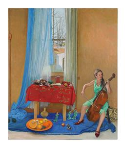 Sale 9245J - Lot 81 - Brian Dunlop - Interior Scene attached label to verso from Eva Breuer