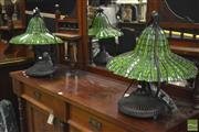 Sale 8347 - Lot 1008 - Pair of Leadlight Shade Table Lamps