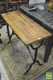 Sale 8392 - Lot 1023 - Rustic Timber Top Hall Table on Iron Base