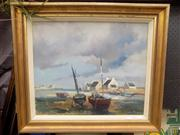 Sale 8437 - Lot 2002 - Lucien Fournet - Untitled (Low Tide Boats) 44 x 53cm