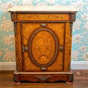 Sale 8577 - Lot 38 - A vintage marquetry French Louis XVI style Pier cupboard with shaped composite top features slim line drawer, lovely detail and intr...