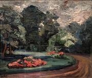 Sale 8583 - Lot 599 - Alfred Veillet (1882 - 1958) - Gardens 31 x 36.5cm