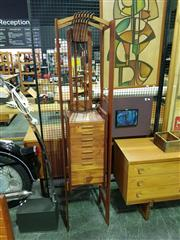 Sale 8661 - Lot 1008 - Vintage Teak Mirrored Back Hall Stand with Fitted Drawers and Back Light