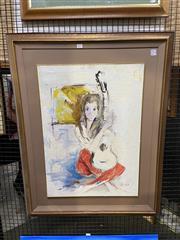 Sale 8936 - Lot 2037 - Italo Bongera - She and her Guitar oil on board, 96 x 75cm (frame), signed -