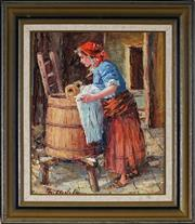 Sale 8961 - Lot 2015 - European School - Washing Day 29 x 23.5 cm (frame: 40 x 35 x 3 cm)
