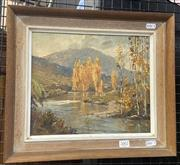 Sale 9004 - Lot 2002 - Robert Lovett - Autumn Gold, Thredbo River, oil on board, SLR