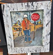 Sale 9024 - Lot 2059 - Artist Unknown  The Adventures of Abi the Traffic Controlla 2010, acrylic on board, frame: 72 x 62 cm, signed and dated lower right