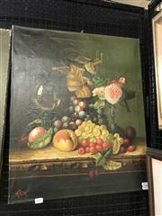 Sale 9045 - Lot 2022 - An Early Dutch Style Still Life oil Painting initialled R.P.X lower left 61 x 51cm