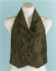 Sale 9071F - Lot 48 - A DEBRA HILL HALTER NECK VEST; in brown & green, with oversized lapes, size M