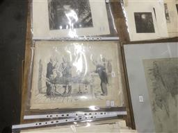 Sale 9111 - Lot 2083 - A Collection of original pen and pencil illustrations by Squire Morgan (condition issues, unframed) -