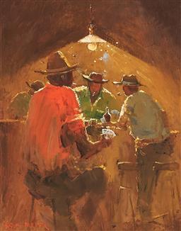 Sale 9133 - Lot 573 - Colin Parker (1941 - ) A Winning Hand oil on board 37 x 29 cm (frame: 53 x 45 x 3 cm) signed lower left