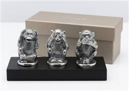 Sale 9255H - Lot 46 - A Christofle silver-plated Animaux figural group Wisdom Monkeys, boxed.