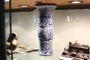 Sale 8306 - Lot 61 - Delft Blue & White Floral Vase