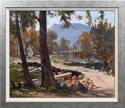 Sale 8420 - Lot 543 - Robert Johnson (1890 - 1964) - The Crossing 37.5 x 44.5cm