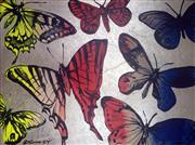Sale 8507A - Lot 5004 - David Bromley (1960 - ) - Yellow, Red and Blue Butterflies 91 x 121.5cm