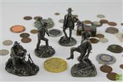 Sale 8505 - Lot 62 - Colonial Metallic Figures Together With Box Of Coins Incl Pennies & Florins