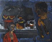 Sale 8738 - Lot 516 - Judy Cassab (1920 - 2015) - Figure with Blackman 34.5 x 42cm