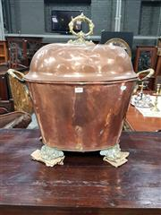 Sale 8714 - Lot 1059 - Large Copper & Brass Coal Bucket, with domed cover & scroll feet