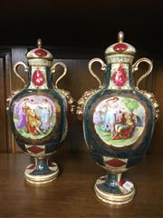 Sale 8730B - Lot 88 - C19th Royal Vienna Lidded Urns Depicting Court Scenes H: 33cm