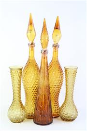 Sale 8802 - Lot 360 - Pair Of Amber Glass Genie Bottles ( H 56cm) Together with Another and A Pair of Vases ( H 30cm)