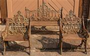 Sale 8871H - Lot 19 - Set of three cast iron bench seats. Largest: Height 97cm x Length 118cm x Width 57cm