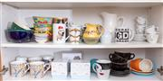 Sale 8891H - Lot 75 - Two shelf lots of ceramic tea and coffee cups