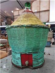 Sale 8912 - Lot 1018 - Large Green Glass Bottle on Woven Case