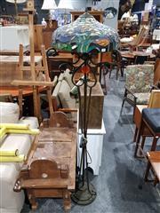 Sale 8984 - Lot 1090 - Floral & Bird Leadlight Shade w Metal Base Standard Lamp