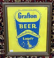 Sale 9002 - Lot 1024 - Framed Grafton Beer Tin Sign (h:43 x w:35cm)