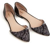 Sale 9090F - Lot 94 - A PAIR OF MIMCO POINTED TOE SLIP ONS, in a black and white diagonal stripe pattern, size 39
