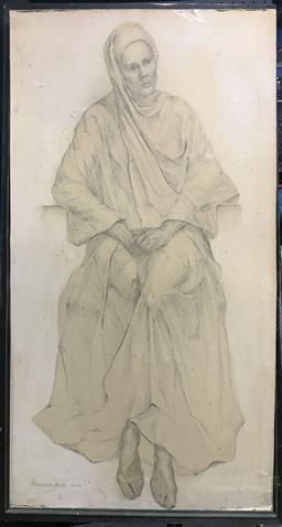 Sale 9106 - Lot 2094 - Artist Unknown Study Of Pauline (the artists wife), 1949, pencil (A.F), frame: 105 x 62 cm, titled verso -