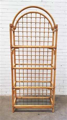 Sale 9112 - Lot 1011 - Cane open shelf with four glass shelves (h:210 w:91 d:38cm)