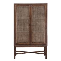 Sale 9140F - Lot 91 - Tall fruitwood wall unit with webbed doors in honey brown. Dimensions: W100 x D40 x H166 cm