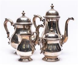 Sale 9170H - Lot 11 - A four piece Kentworth International Sterling silver coffee set, tallest Height 28cm, total combined weight 2.1kg