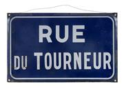 Sale 8422A - Lot 72 - An early C20th French enamel street sign Rue du Tourneur, 25 x 40cm
