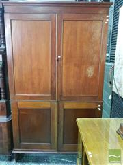 Sale 8539 - Lot 1021 - 19th Century Cedar Cabinet, with four mortice & tenon panel doors, enclosing three adjustable shelves to top & one below (Key in Off...