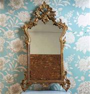 Sale 8577 - Lot 40 - A vintage Italian Florentine aged giltwood mirror featuring lovely carved timber detail throughout, H 100 x W 53cm