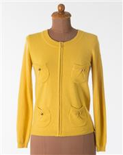 Sale 8550F - Lot 31 - A Luisa Spagnoli virgin wool and angora mix mustard yellow zip up cardigan, with gold coloured buttons to the four small pockets to...