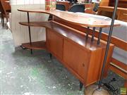 Sale 8566 - Lot 1079 - Vintage Corner Sideboard with Two Sliding Doors and Shelving Space (74 x 60 x 130)