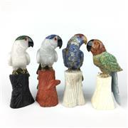 Sale 8607R - Lot 83 - Set of Four Stone Parrot Figures (H: 13cm)