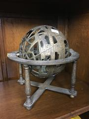 Sale 8730B - Lot 89 - Etched Brass Globe on Stand H: 26cm