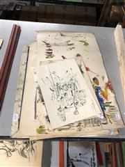 Sale 8789 - Lot 2151 - Collection of Works incl Toni Basar - Oriental Boats, Wayang Kulit Figure I & Wayang Kulit Figure II, mixed media, SLR