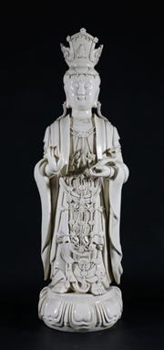 Sale 9010 - Lot 91 - Blanc de Chine Guanyin With Impressed Mark to Back (H72cm)